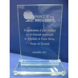 Min-Trofeo Telus 6 x 9 x 3 cm, Cristal-Jade.